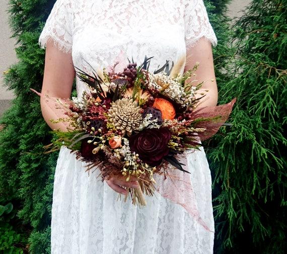 Herbst Blumen Sola Rose Hochzeit Bouquet Die Schokolade Braun Etsy