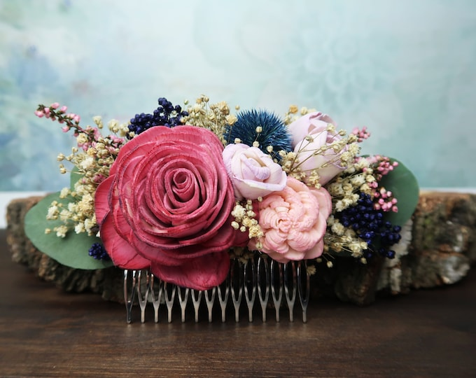 Pink rose bridal hair comb blush dusty pink blue thistle sola flowers preserved eucalyptus gypsophila rice flowers heather vintage boho