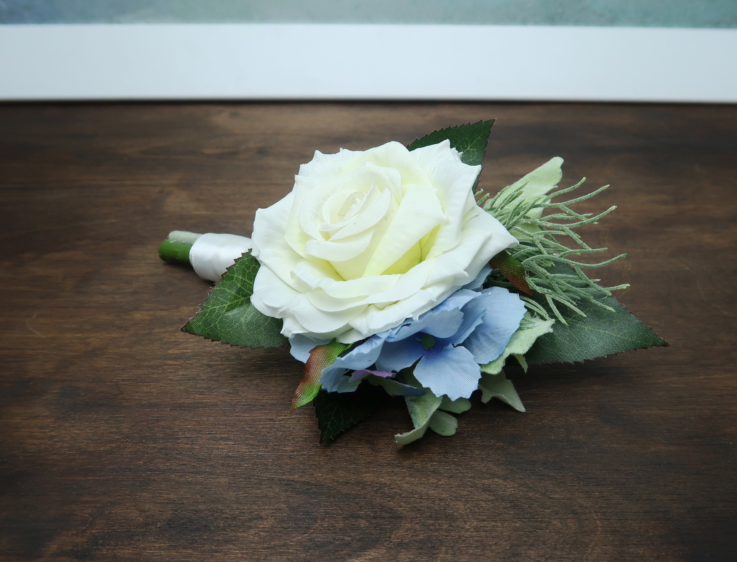White Rose Blue Hydrangea Wedding Groom Boutonniere Realistic Silk