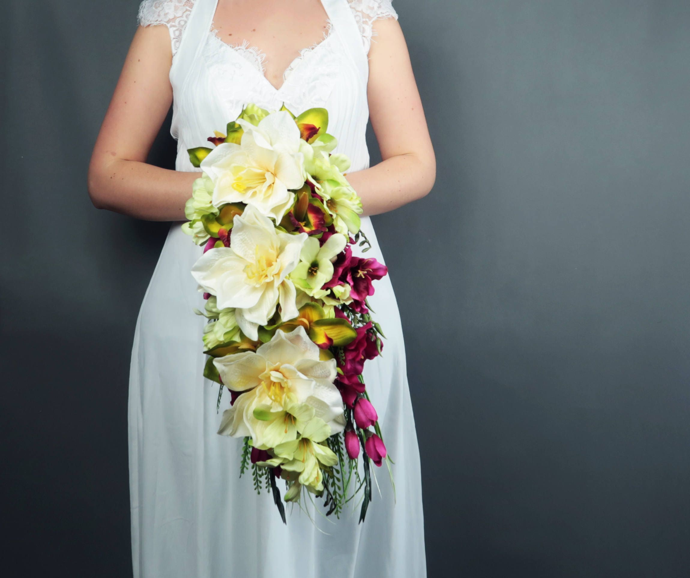 Wild Tropical Flowers Wedding Bouquet Orchid Amaryllis Freesia