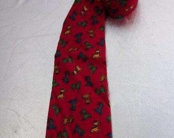 Vintage Men's 100% Silk Tie GENT'S Brand Circa 1980s Rocking Horse Design on Deep Red Background