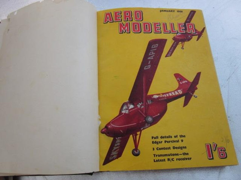 1958 AERO MODELLER Magazines x 12 Bound Issues Jan 1958 - Dec 1958 Make  Your Own Model Plane Diagrams Drawings Photos Twelve Issues