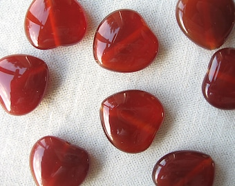 2 red agate heart beads 20x20mm