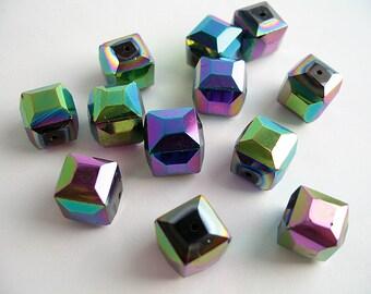6mm Glasperlen 136St #5173 Rainbow Plated