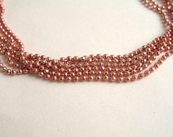 Necklace chain beads diamanté pink 1 mm length 40cm