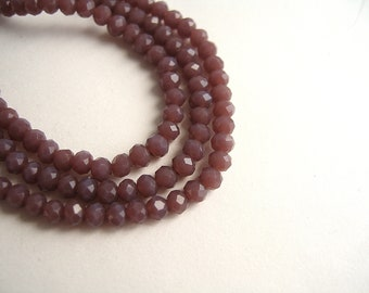 150 3x2mm dark purple faceted pink glass beads