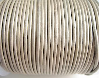 4 m leather cord 2mm white metallic quality sup