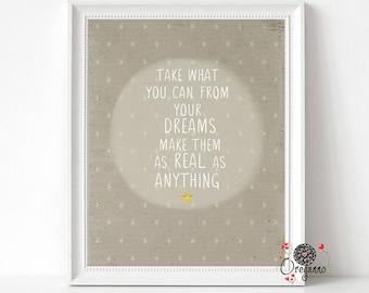 Dave Matthews Band-Gray Street- DMB lyrics-Take what you can from dreams-Inspirational wall art-Dave Matthews-teenager gift-rock