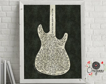 Foo Fighters-EVERLONG-Everlong lyrics art-Guitar art-Inspirational wall art-Foo Fighters print-Rock poster-music wall art print-grunge print