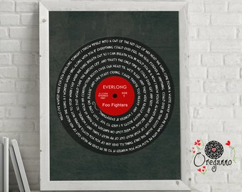 Foo Fighters-EVERLONG-Vynil-Everlong lyrics art-LP art-Vintage Record-Inspirational wall art-Foo Fighters print-Rock poster-music art