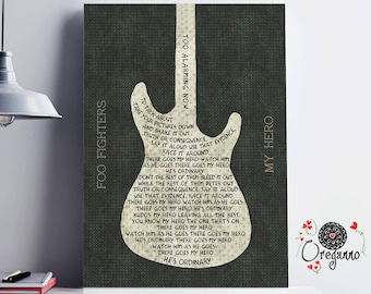 Foo Fighters-My Hero-Inspirational Wall Art-Guitar Art-Rock Poster-Printable lyrics-Sixties Art-Music Quote-wall art print-gift