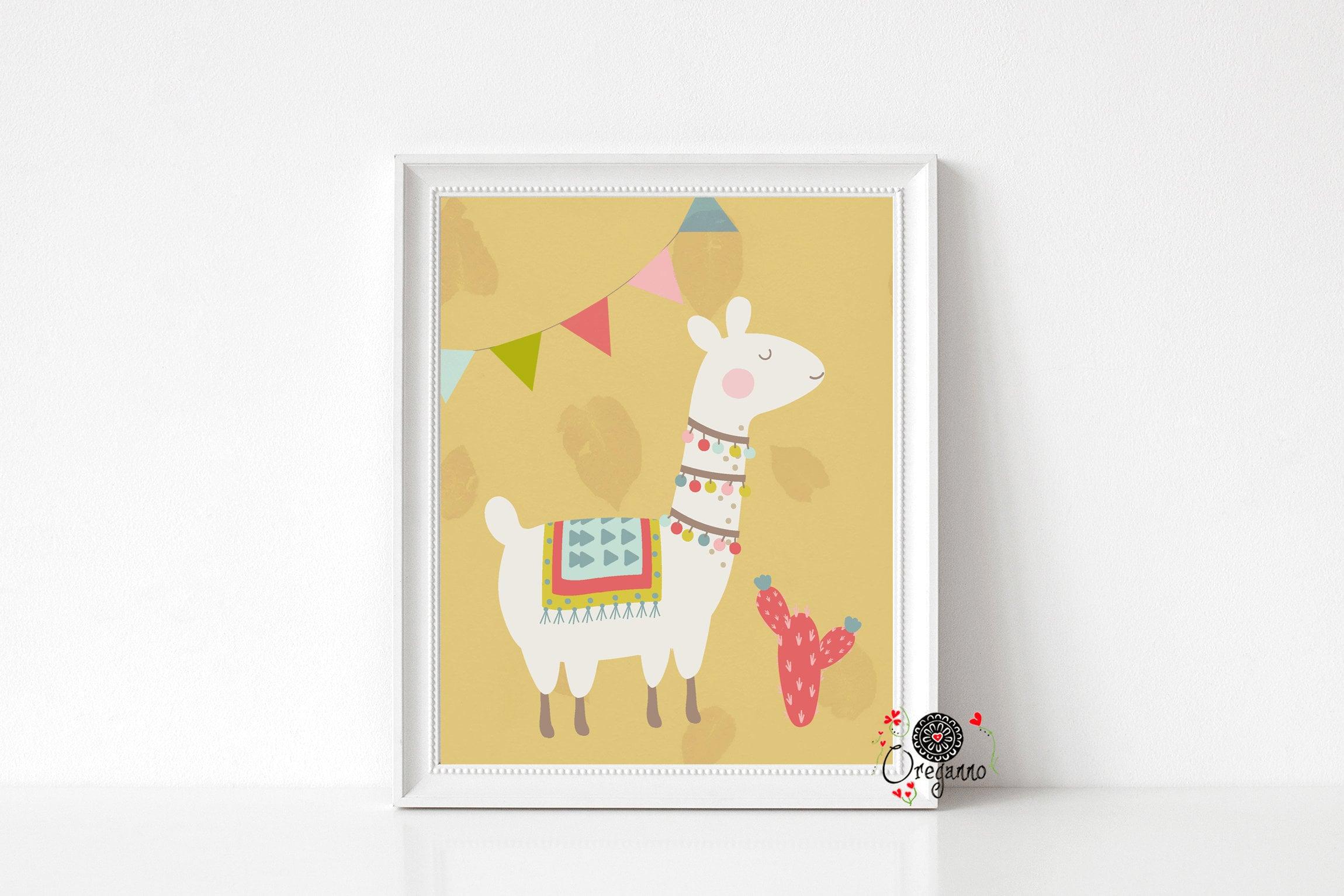 Llama wall art-kids room decor-Nursery wall art-Children room | Etsy