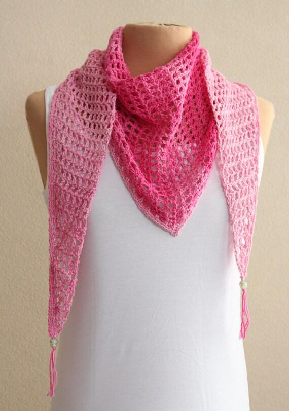 Rosa Sommer Schal Schal Schal Schal häkeln mit Farbverlauf | Etsy
