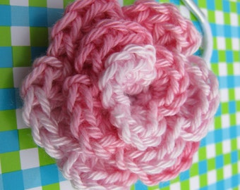 Ponytail elastic, pink rose, for kids for wedding or first communion.