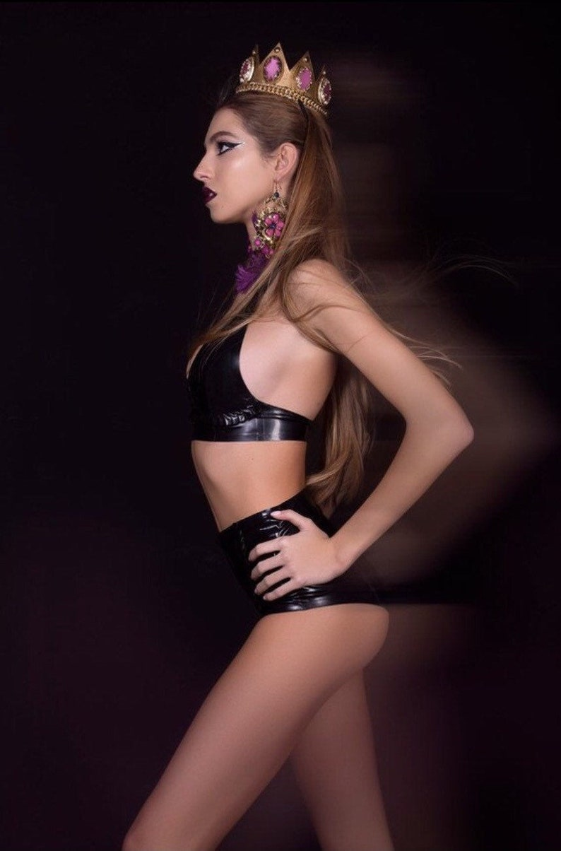 Panties with Ruffles READY TO SHIP Set 2 Pieces Black Latex Bra Top with Ruffles