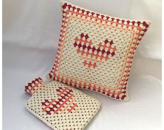 Granny Stripe Heart Snuggle Set Crochet Pattern - PDF download in ENGLISH ONLY - Hot Water Bottle Cover and Cushion Cover Crochet Patterns