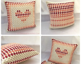 Cushion Cover Crochet Pattern - PDF download in ENGLISH ONLY - Granny Stripe Heart Cushion Cover Crochet Pattern