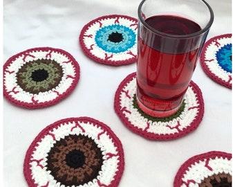 Eyeball Coasters Crochet Pattern - PDF Pattern Digital Download - Creepy Spooky Decorations - Halloween Crochet Ideas