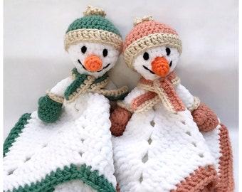 Crochet Snowman Lovey Pattern - PDF Pattern Digital Download - Baby Gift Idea - Crochet Comforter Blankey Lovies
