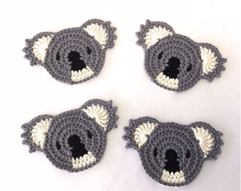 Koala Coasters Crochet Pattern - PDF download in ENGLISH ONLY - Make Your Own Koala Shaped Crochet Coasters, Appliques, or Bunting