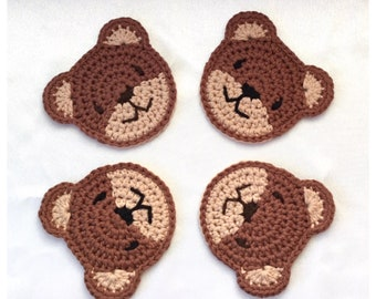 Teddy Bear Coasters Crochet Pattern - PDF download in ENGLISH ONLY - Bear Shaped Crochet Coasters for Children and Parties