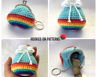 Rainbow Purse & Pouch Crochet Pattern - PDF download in ENGLISH ONLY - Crochet Coin Purse and Drawstring Pouch Pattern