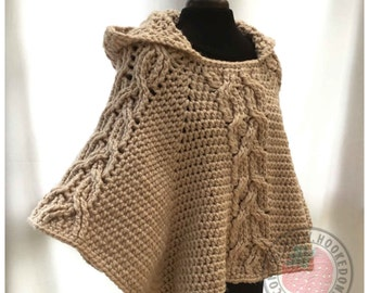 Milena Twist Cable Hooded Poncho - Crochet PDF Pattern - ENGLISH ONLY - Crochet Poncho Pattern - Make your own