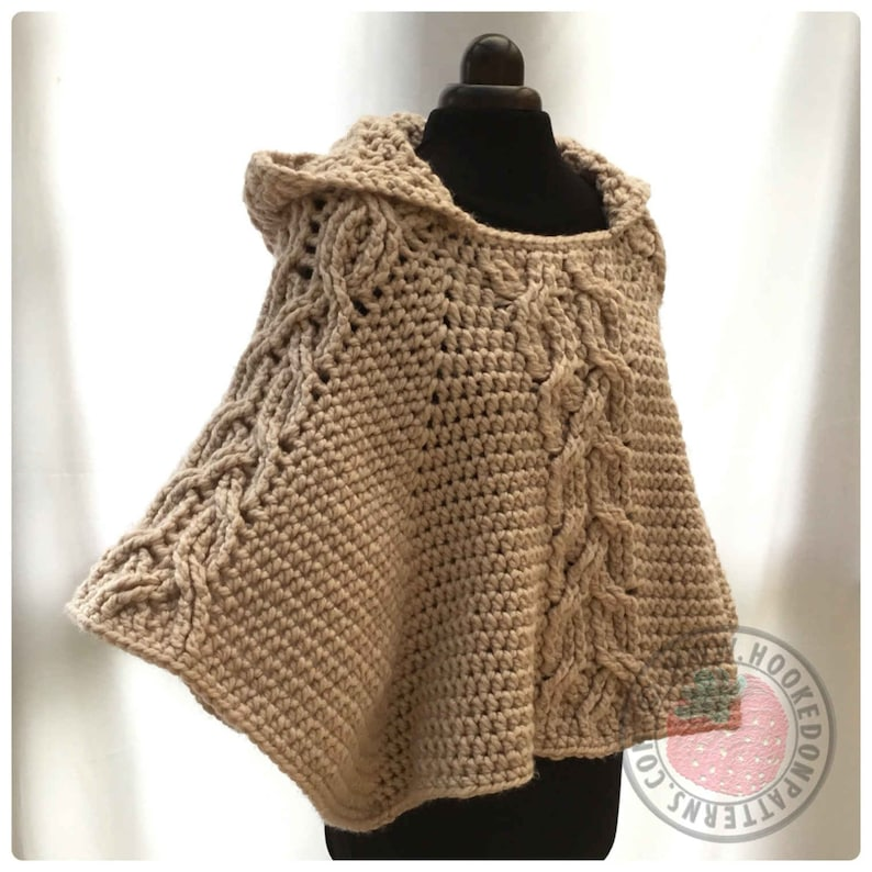 Milena Twist Cable Hooded Poncho  Crochet PDF Pattern image 0