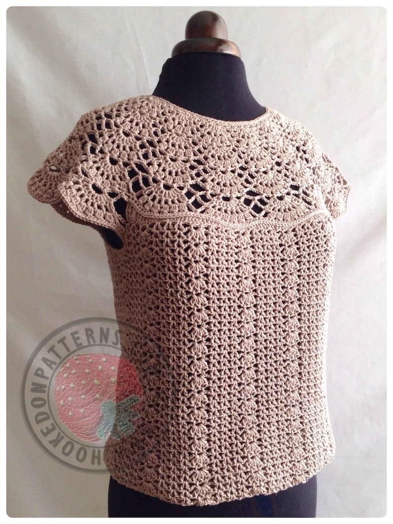 Bellissa Tucked Hem Top  Size S M L XL 2XL 3XL  Crochet image 0