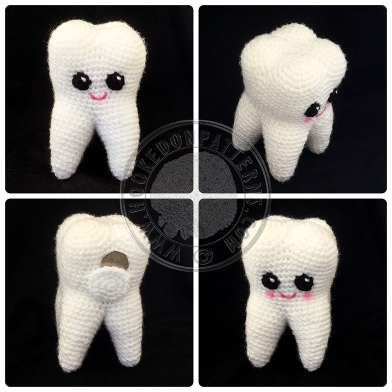 Sweet Tooth Amigurumi Crochet Pattern - Tooth Fairy Buddy Coin Keeper -  Crochet PDF Pattern Download ONLY