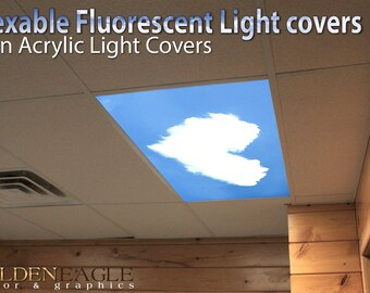 flexible fluorescent light cover films skylight ceiling office medical dental sky love heart clouds