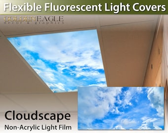 flexible fluorescent light cover films skylight ceiling office medical dental clouds sky cloudscape