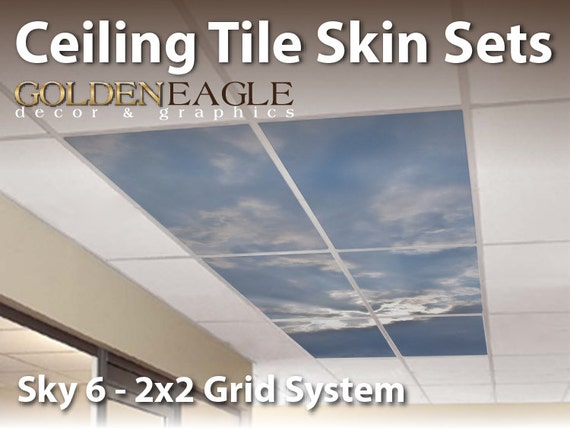 Ceiling Tile Skin Kit X Grid Glue Up Decorative Panel Cover Etsy - 2x4 ceiling tiles that look like 2x2