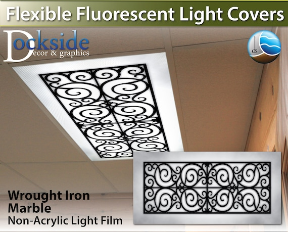 Fluorescent Light Covers >> Flexible Fluorescent Light Cover Films Skylight Ceiling Office Medical Dental Marble Wrought Iron Design