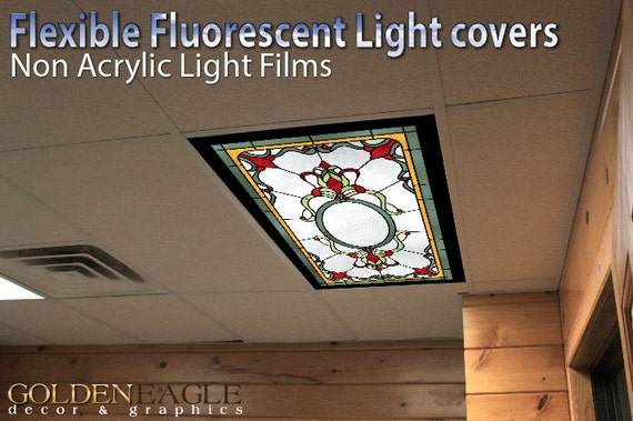 Fluorescent Light Covers >> Flexible Fluorescent Light Cover Films Skylight Ceiling School Classroom Office English Pub Victorian Stained Glass 4