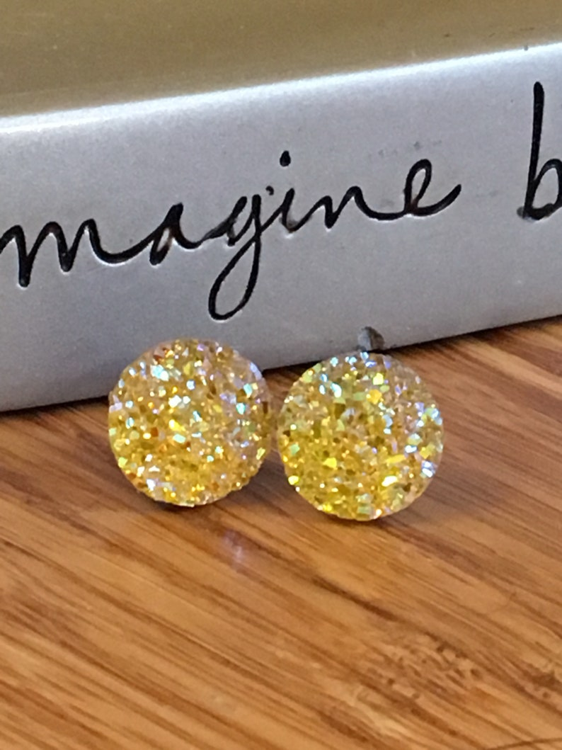 06f0e8b44adc5 Yellow sparkle study earrings. Nickel free. Light weight. 12mm. Plastic #1