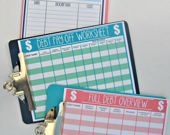monthly budget forms etsy