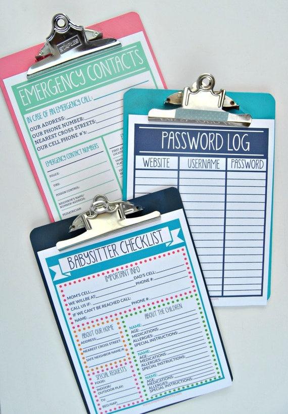 pdf home management forms babysitter checklist emergency etsy