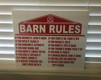 LARGE - 18x24 Inch BARN RULES Sign