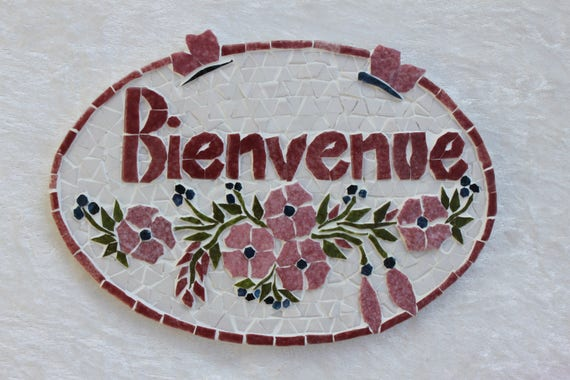 plaque de porte en mosa que bienvenue guirlande rose et. Black Bedroom Furniture Sets. Home Design Ideas