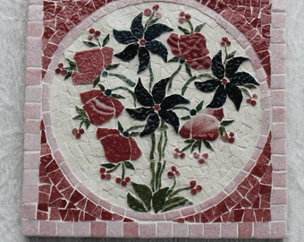 Mosaic coaster: red and blue, mosaic bouquet in relief.