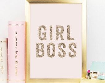 Girl Boss, Gold Decor, Gold Glitter, Girl Boss Print, Boss Lady, Office Decor, Desk Accessories, Gift For Her, Inspirational Quote,Printable