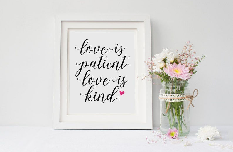 Love Is Patient Love Is Kind Love Never Fails Love Quote Etsy