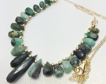 Green Emerald Necklace Genuine Emerald Stones Gold Filled Green Beaded Necklace Unique Emerald Gift Emerald Teardrop Necklace Gift for Her