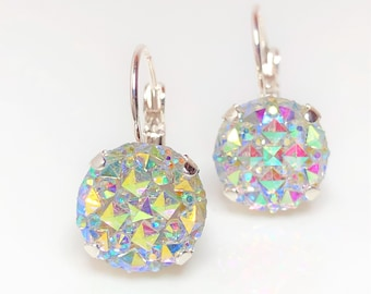 6d5411ebc Clear AB Faux Druzy Earrings Sparkly Rainbow 12mm Crystal Drops Plated  Lever Back Earrings Pretty Sparkly Gift for Her Birthday Jewellery