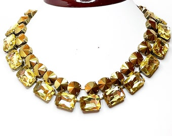 Anna Wintour Jewelry Crystal Collet Necklace citron citrine yellow necklace Yellow statement Crystal Necklace Crystal Riviere Necklace