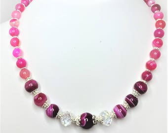 Pink Striped Agate Necklace Crystal Necklace Pink Gemstone Jewelry Natural Stone Jewellery Hot Pink Statement Necklace Unique Gift for Her