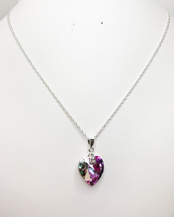 bc3fbcafd9ce Vitrail Light Swarovski Crystal Heart Pendant 925 Sterling