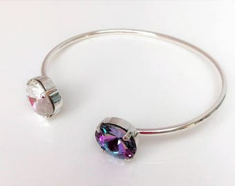Swarovski Crystal Open Bangle Vitrail Light Crystal Designer Jewelry Birthday Gift For Her Dainty Rainbow Cuff Bracelet 12mm Cushion Cut