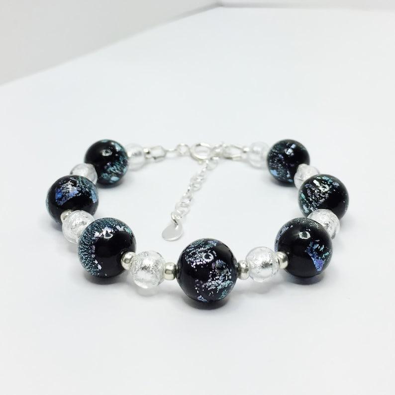 Black Silver Bracelet Pretty Italian Glass Jewelry 925 Sterling Silver, Black Dichroic Murano Glass Bracelet Sparkly Murano Bracelet